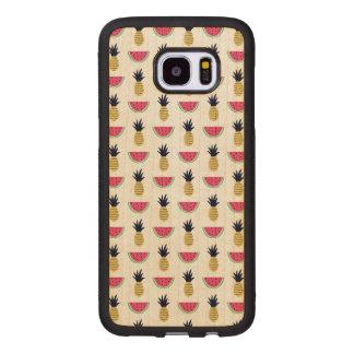 Cute Pineapple & Watermelon Doodle Pattern Wood Samsung Galaxy S7 Edge Case