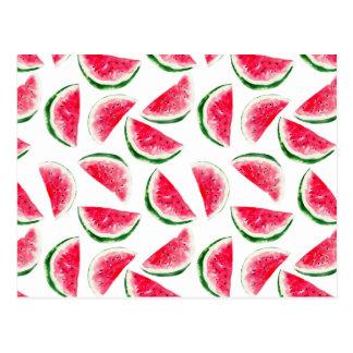 Cute Pineapple & Watermelon Pattern Postcard