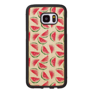 Cute Pineapple & Watermelon Pattern Wood Samsung Galaxy S7 Edge Case