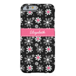 Cute Pink and Black Girly Mod Daisies With Name Barely There iPhone 6 Case