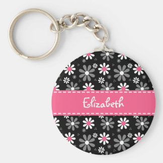 Cute Pink and Black Girly Mod Daisies With Name Basic Round Button Key Ring