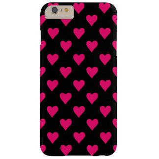 Cute Pink and Black Heart Pattern Barely There iPhone 6 Plus Case