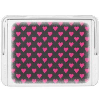 Cute Pink and Black Heart Pattern Cooler