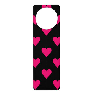Cute Pink and Black Heart Pattern Door Hanger
