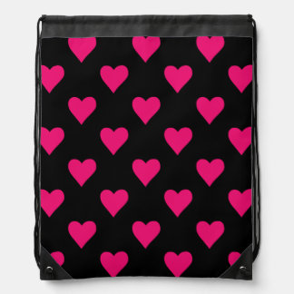 Cute Pink and Black Heart Pattern Drawstring Bag