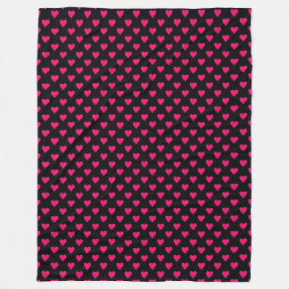 Cute Pink and Black Heart Pattern Fleece Blanket