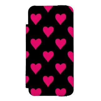 Cute Pink and Black Heart Pattern Incipio Watson™ iPhone 5 Wallet Case