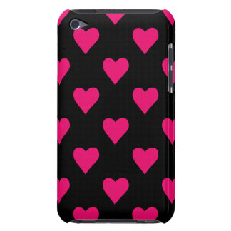 Cute Pink and Black Heart Pattern iPod Touch Cases
