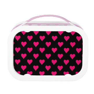 Cute Pink and Black Heart Pattern Lunch Box
