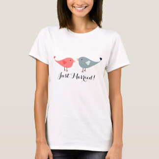 Cute Pink and Blue Bird Couple Just Married Tee
