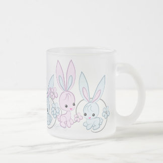 Cute Pink And Blue Bunnies Frosted Glass Mug