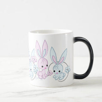 Cute Pink And Blue Bunnies Morphing Mug