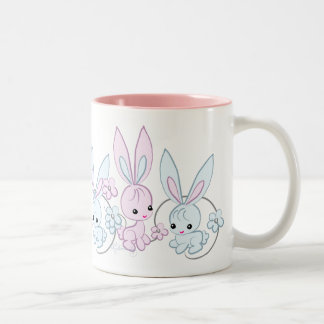 Cute Pink And Blue Bunnies Two-Tone Mug