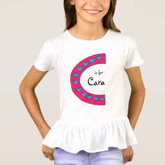 Cute Pink and Blue Hearts Letter C Girls Name T-Shirt