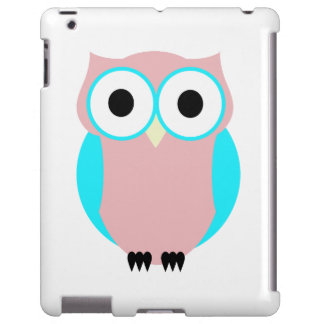 Cute Pink And Blue Hoot Owl iPad Case