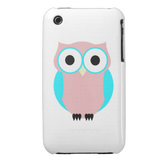 Cute Pink And Blue Hoot Owl iPhone 3 Case