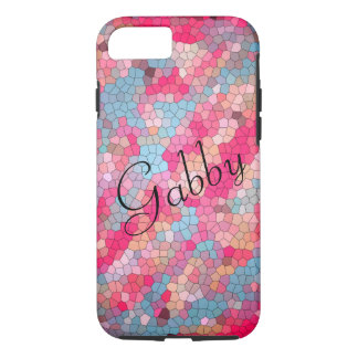 Cute Pink and Blue Stained Glass Personalized iPhone 8/7 Case