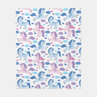 Cute pink and blue unicorns pattern Fleece blanket