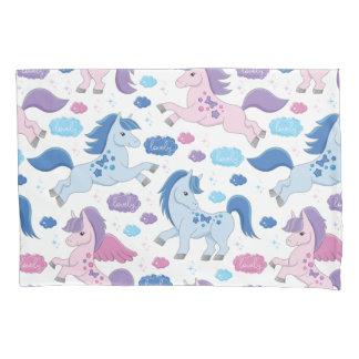 Cute pink and blue unicorns pattern Pillowcase