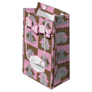 Cute Pink and Brown Elephant Polka Dots Small Gift Bag