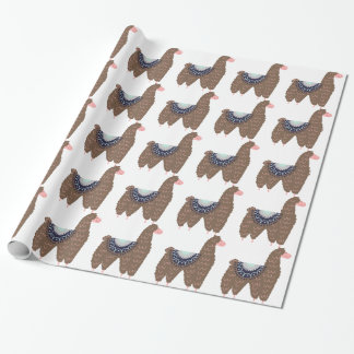 Cute Pink and Brown Llama Wrapping Paper