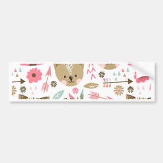 cute pink and brown teddy bear baby print bumper sticker