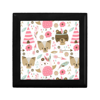 cute pink and brown teddy bear baby print gift box
