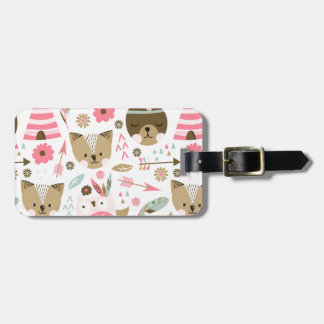 cute pink and brown teddy bear baby print luggage tag