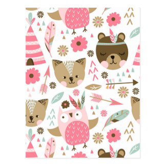 cute pink and brown teddy bear baby print postcard