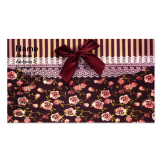 Cute Pink and Brown Vintage Flowers Business Cards