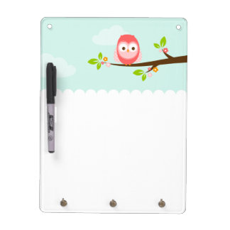 Cute Pink and Coral Owl on a Branch Dry Erase Board