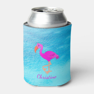 Cute pink and girly tropical flamingo on blue sea can cooler