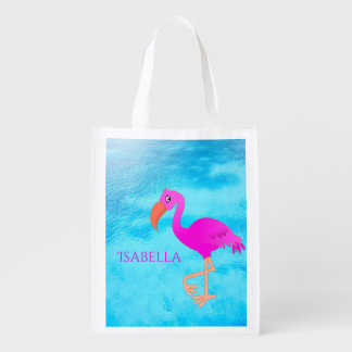 Cute pink and girly tropical flamingo on blue sea reusable grocery bag