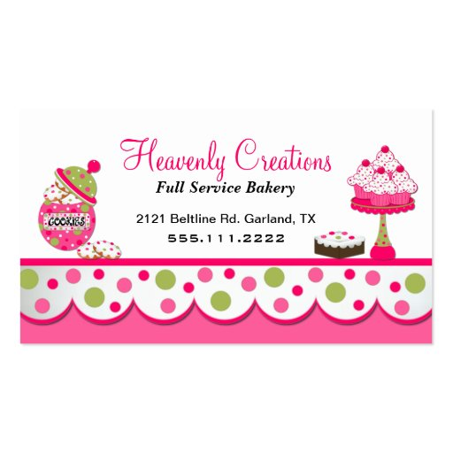 Cute Pink and Green Bakery Business Card