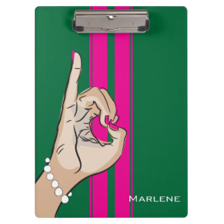 Cute Pink and Green illustration Clipboard