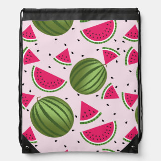 Cute pink and Green watermelon pattern Drawstring Bag
