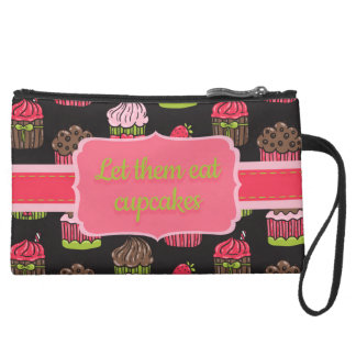 Cute Pink and Lime Green Cupcakes on Black Wristlets