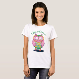 Cute Pink and Lime Green Naptime Owl T Shirt