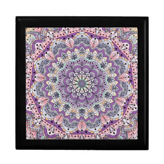 Cute pink and purple floral mandala gift box
