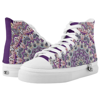 Cute pink and purple floral mandala high tops