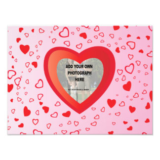 Cute Pink and red love heart photo frame