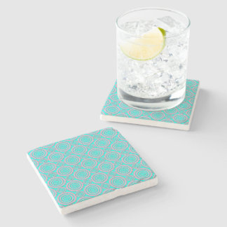 Cute Pink and Turquoise Geometric Pattern Stone Coaster