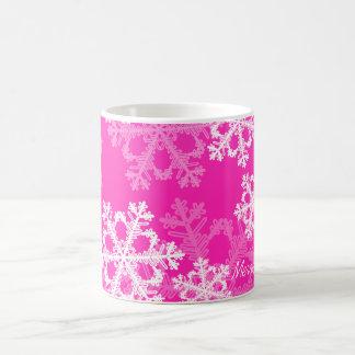 Cute pink and white Christmas snowflakes Basic White Mug