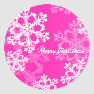 Cute pink and white Christmas snowflakes Round Sticker