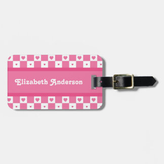 Cute Pink and White Heart Pretty Squares With Name Luggage Tag
