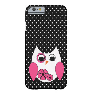Cute Pink and White Owl Polka Dots Barely There iPhone 6 Case