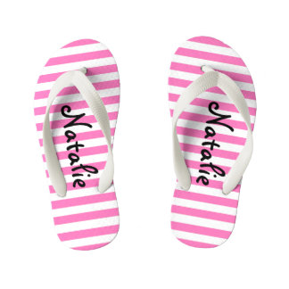 Cute Pink and White Stripe Personalized Kid's Thongs