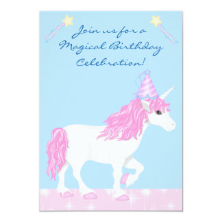 Cute Pink and White Unicorn Girls Magical Birthday 13 Cm X 18 Cm Invitation Card