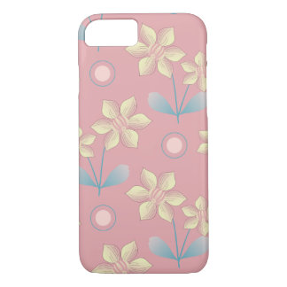 Cute pink and yellow Flowers Pattern iPhone 7 Case