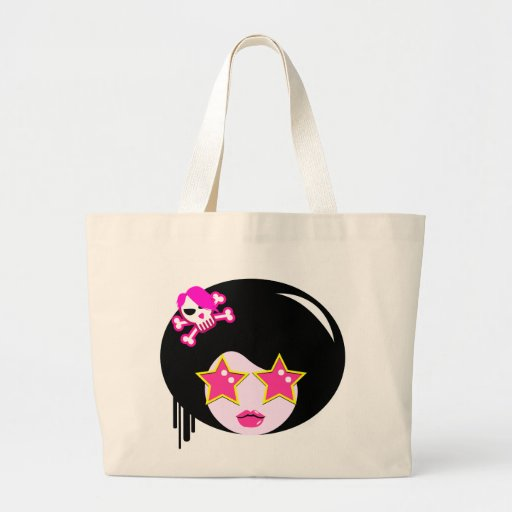 Cute pink apple girl canvas bag